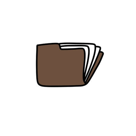 documents folder doodle icon, vector illustration