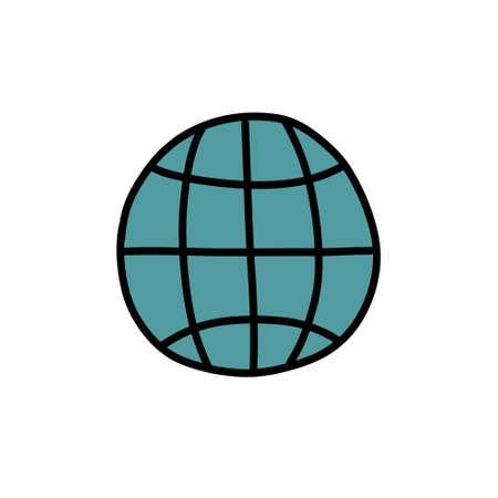 globe doodle icon, vector illustration