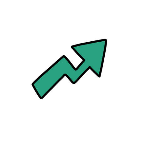 growth arrow doodle icon illustration