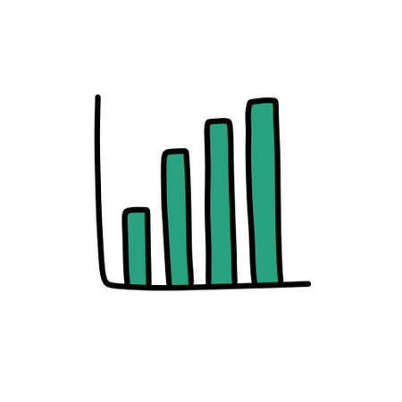 growth chart doodle icon illustration