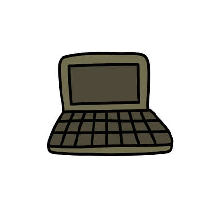laptop doodle icon, vector illustration