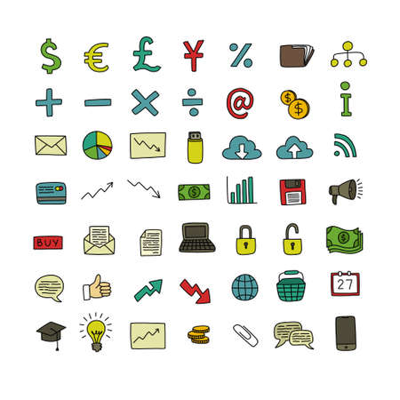 business doodle icons set, vector illustration 向量圖像