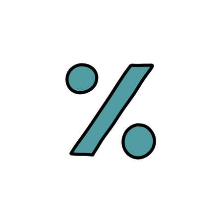 percent symbol doodle icon, vector illustration Çizim