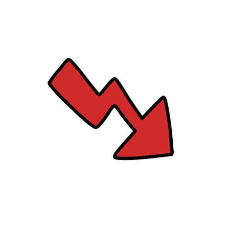recession arrow doodle icon illustration