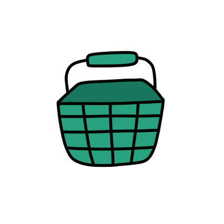 shopping basket doodle icon, vector illustration