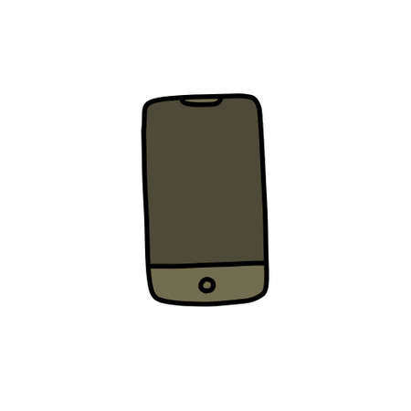 smartphone doodle icon, vector illustration 向量圖像