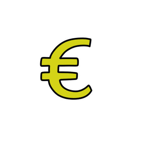 euro symbol doodle icon, vector illustration