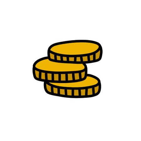coins doodle icon illustration