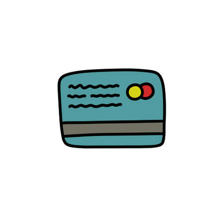 credit card doodle icon, vector illustration