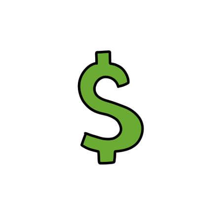 dollar symbol doodle icon  illustration