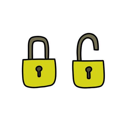 lock doodle icon, vector illustration