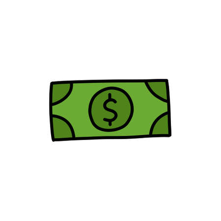 dollar bill doodle icon  illustration