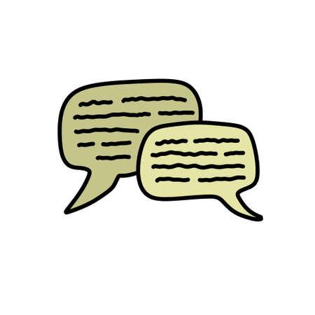 speech bubble doodle icon, vector illustration Çizim
