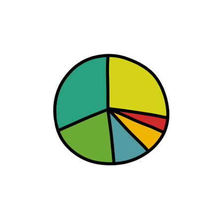 statistics pie diagram doodle icon, vector illustration Stok Fotoğraf - 151012880