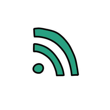 wifi sign doodle icon illustration 向量圖像