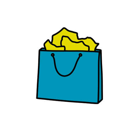 shopping bag doodle icon, vector color illustration 向量圖像