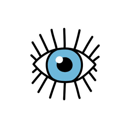 eye doodle icon, vector illustration