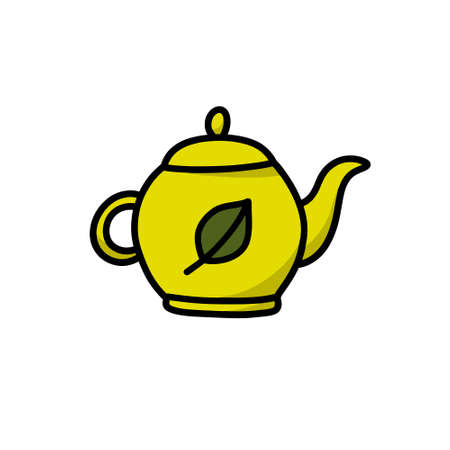 teapot doodle icon, vector illustration