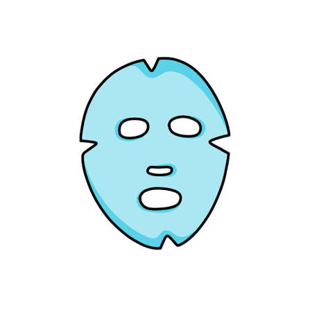 face sheet mask doodle icon, vector illustration 向量圖像