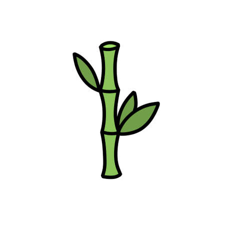 bamboo doodle icon, vector illustration