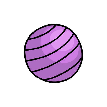 exercise ball doodle icon, vector illustration