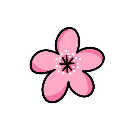 sakura flower doodle icon, vector illustration