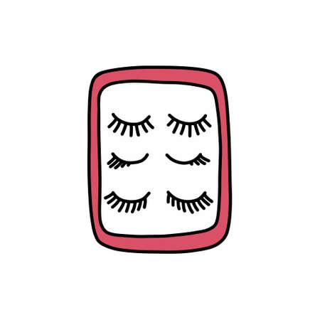 false eyelashes doodle icon, vector illustration