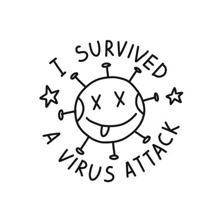 i survived a virus attack sticker doodle icon, vector illustration