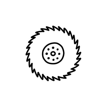 circular saw doodle icon, vector illustration 向量圖像
