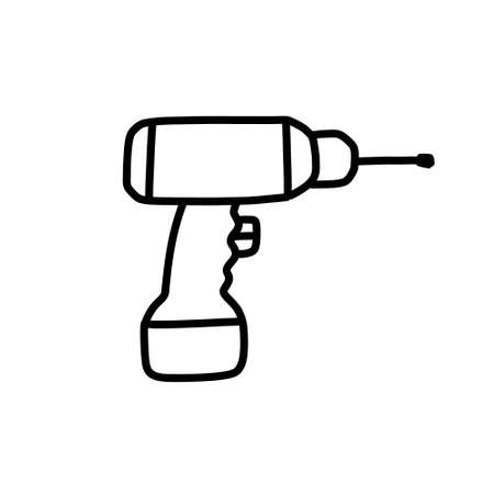 hammer drill doodle icon, vector illustration 向量圖像
