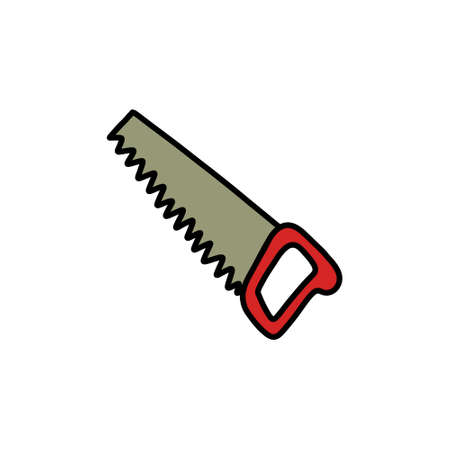 hand saw doodle icon, vector illustration
