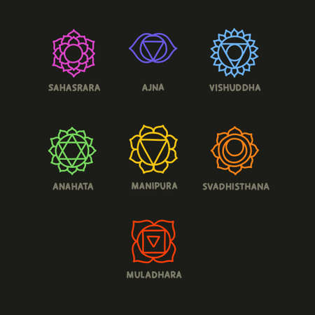 chakra doodle icons set, vector illustration 向量圖像