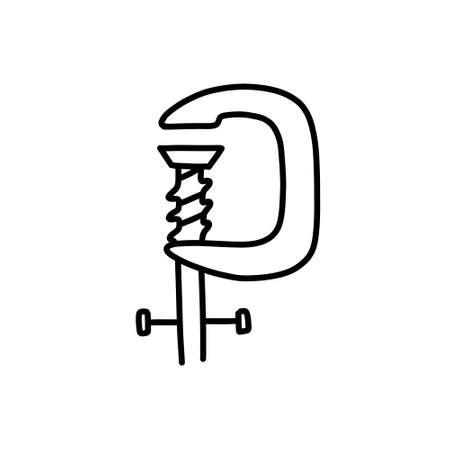 carpenter press doodle icon, vector illustration