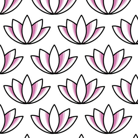 lotus flower seamless doodle icon sticker, vector illustration 向量圖像
