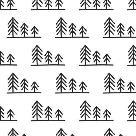 pine trees seamless doodle icon sticker, vector illustration
