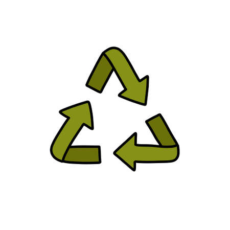 recycling symbol doodle icon, vector illustration
