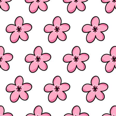 sakura flower seamless doodle icon sticker, vector illustration Vettoriali