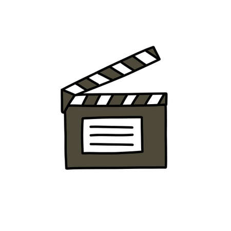 clapboard film doodle icon, vector illustration
