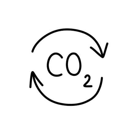 carbon dioxide doodle icon, vector illustration Çizim
