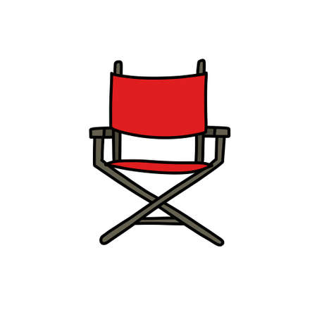 director's chair doodle icon, vector illustration