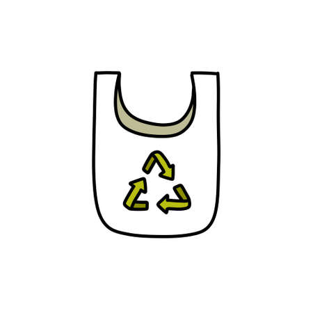 recycling bag doodle icon, vector illustration