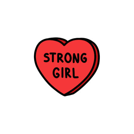strong girl heart doodle icon, vector color illustration