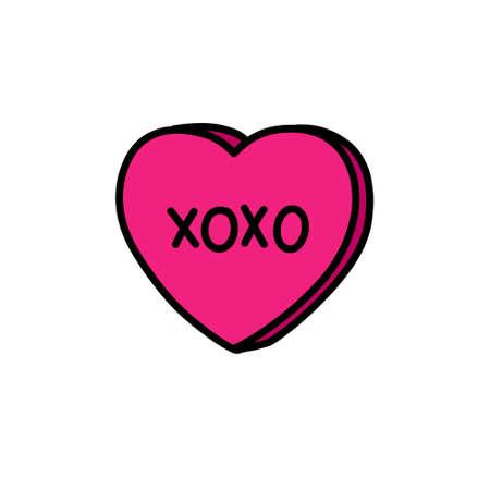 xoxo heart doodle icon, vector color illustration Stok Fotoğraf - 156579916