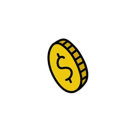coin doodle icon, vector color line illustration Stok Fotoğraf - 156579919
