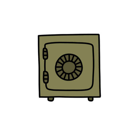 safe for savings doodle icon, vector color illustration