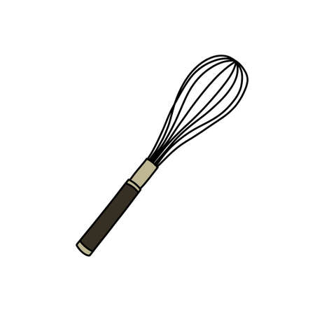 whisk doodle icon, vector color line illustration