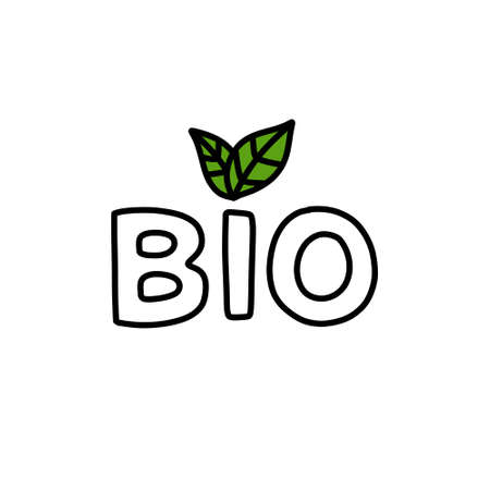 bio sign doodle icon, vector color illustration