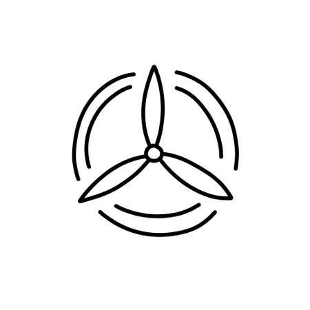 wind farm doodle icon, vector line illustration