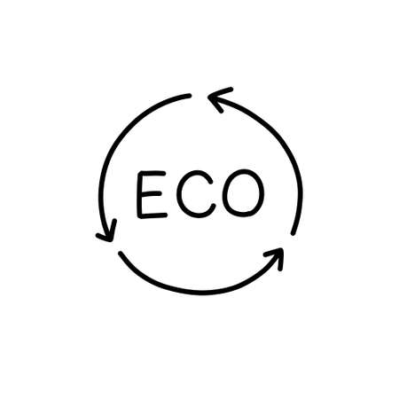 eco sign doodle icon, vector color illustration