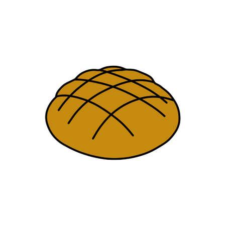 bread doodle icon, vector color line illustration Çizim